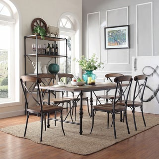 TRIBECCA HOME Nelson Industrial Modern Cross Back 7-piece Dining Set