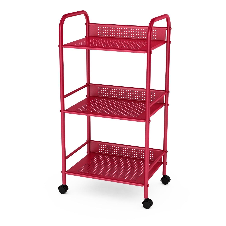DarLiving urb Space Metal 3-tier Rolling Cart (Red, Cart)