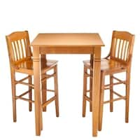 Library Solid Wood 3-piece Bar Table Set