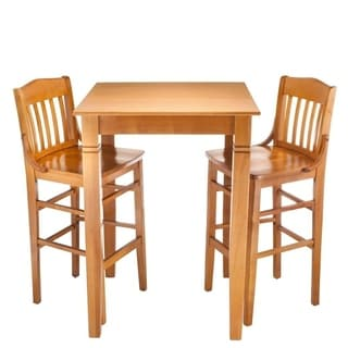 Library Solid Wood 3 Piece Bar Table Set