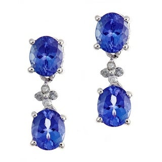 Anika and August Sterling Silver 1/10ct TDW Diamond and Oval-cut Tanzanite Earrings (G-H, I1-I2)