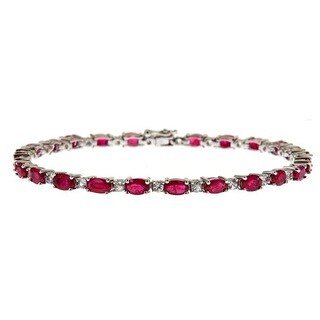 Anika and August Sterling Silver 8 3/4ct TGW Ruby and White Sapphire Fashion Bracelet