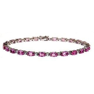 Anika and August Sterling Silver 8 2/5ct TGW Pink/ White Sapphire Fashion Bracelet