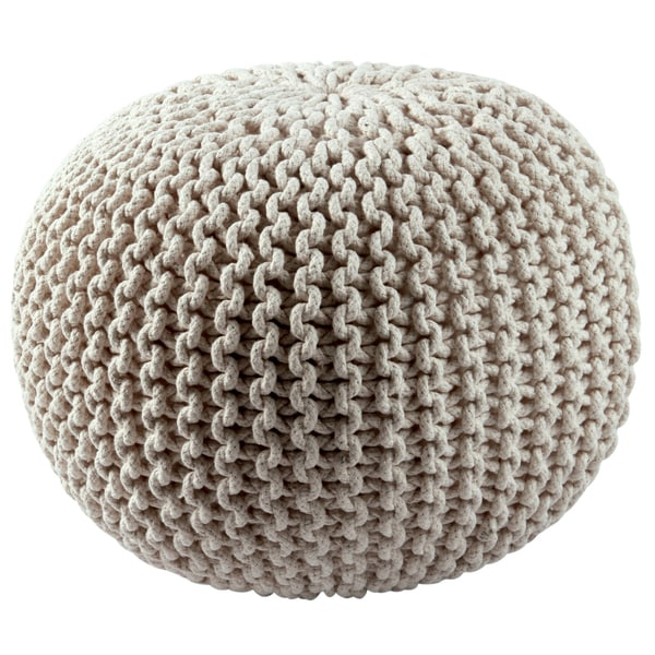 Cotton Rope 16 Inch Off White Pouf Free Shipping Today