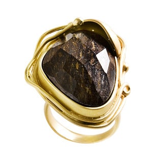 Nexte Jewelry Yellow Goldplated Natural-Cut Genuine Tiger'S Eye Fashion Ring