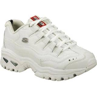 Skechers Energy Casual Shoes In White Leather Silver Trim Wml