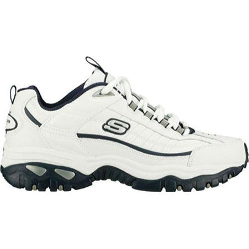 Men's Skechers Energy After Burn White Leather/Navy Trim (WNV) - Thumbnail 1