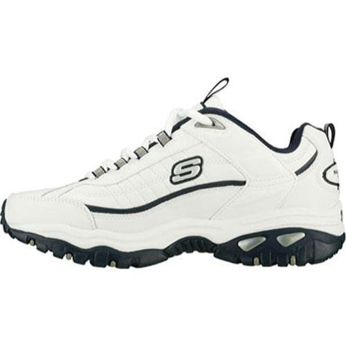 Men's Skechers Energy After Burn White Leather/Navy Trim (WNV) - Thumbnail 2