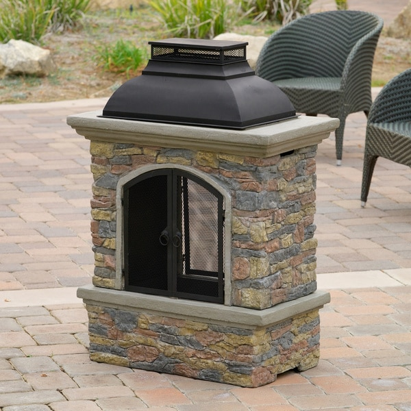 Shop Christopher Knight Home Luvan Outdoor Natural Stone ... on Backyard Chiminea Ideas id=35957
