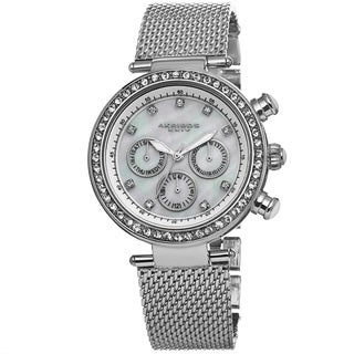 Akribos XXIV Women's Multifunction Quartz Crystal Stainless Steel Silver-Tone Bracelet Watch