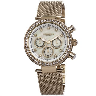 Akribos XXIV Women's Multifunction Quartz Crystal Stainless Steel Gold-Tone Bracelet Watch with FREE GIFT