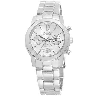 August Steiner Women's Swiss Quartz Multifunction Silver-Tone Bracelet Watch