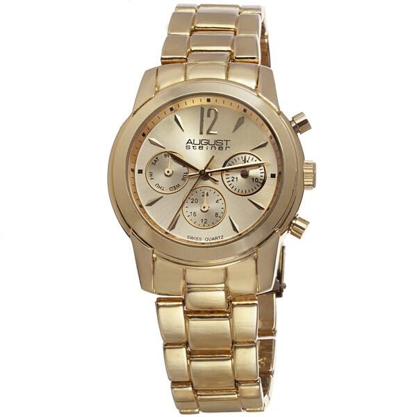 August Steiner Women's Swiss Quartz Multifunction Gold-Tone Bracelet Watch