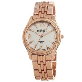 August Steiner Women's Diamond Dial Swiss Quartz Rose-Tone Bracelet Watch