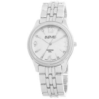 August Steiner Women's Diamond Dial Swiss Quartz Silver-Tone Bracelet Watch