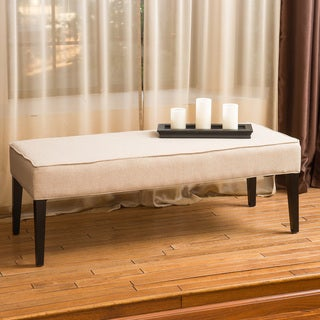 Vaughn Linen Beige Fabric Bench by Christopher Knight Home