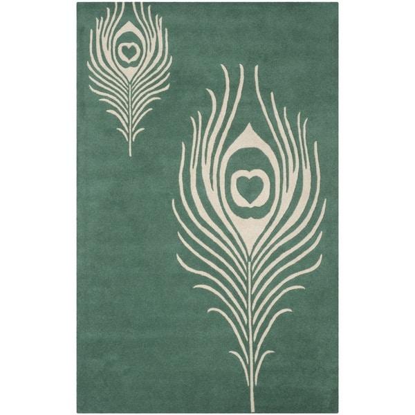 Safavieh Handmade Soho Teal/ Ivory New Zealand Wool/ Viscose Rug - 7'6 x 9'6