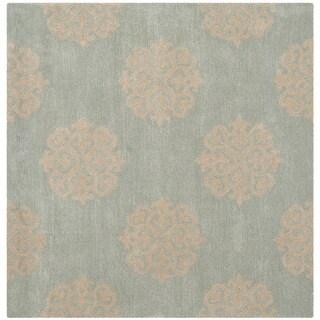 Safavieh Handmade Soho Turquoise/ Yellow Wool Rug - 4' Square