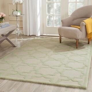 Safavieh Handmade Moroccan Cambridge Ivory/ Light Green Wool Rug (6' Square)