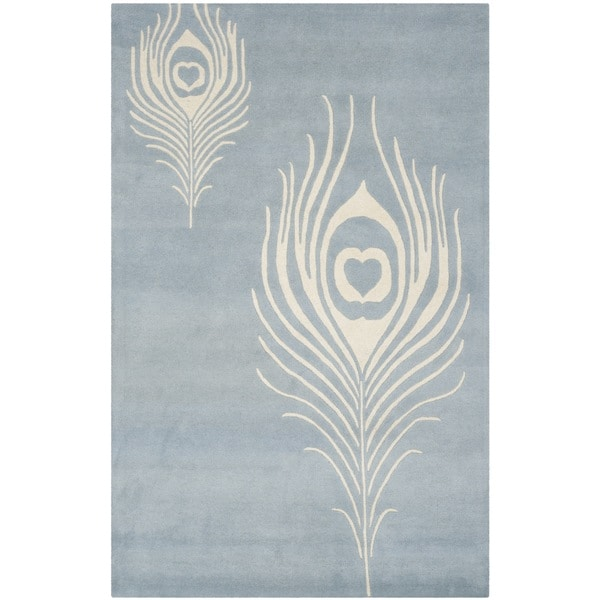 "Safavieh Handmade Soho Light Blue/ Ivory New Zealand Wool/ Viscose Rug - 7'6"" x 9'6"""