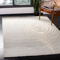 "Safavieh Handmade Soho Grey/ Ivory New Zealand Wool/ Viscose Rug - 7'6"" x 9'6"""