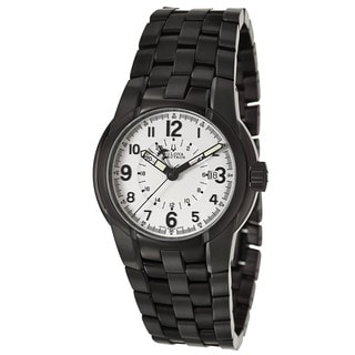 Bulova Accutron Men's 'Eagle Pilot' Black Stainless Steel Military Time Watch