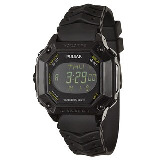 Pulsar Men'sBlack Stainless Steel 'On The Go' Alarm Digital Chronograph, GMT, World Timer Watch
