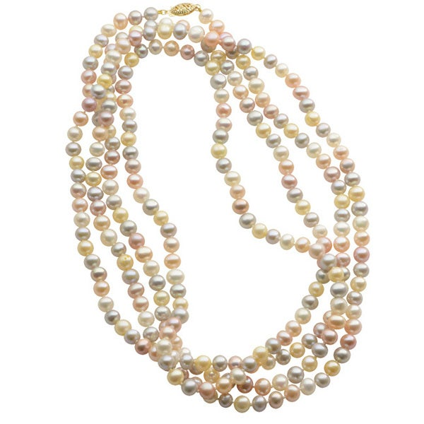 Pearls For You 14k Yellow Gold Multi-color Freshwater Pearl Necklace (6-6.5 mm)