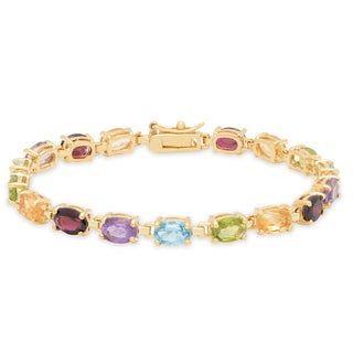 Dolce Giavonna 18k Yellow Gold over Sterling Silver Multi-Gemstone Tennis Bracelet