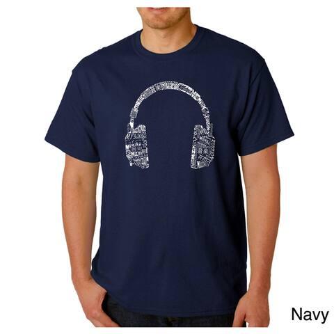 Los Angeles Pop Art Men's 'Music Language Headphones' T-shirt