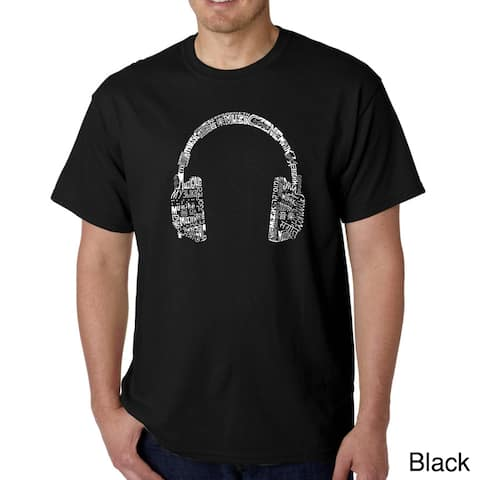 Los Angeles Pop Art Men's 'Music Language Headphones' T-shirt
