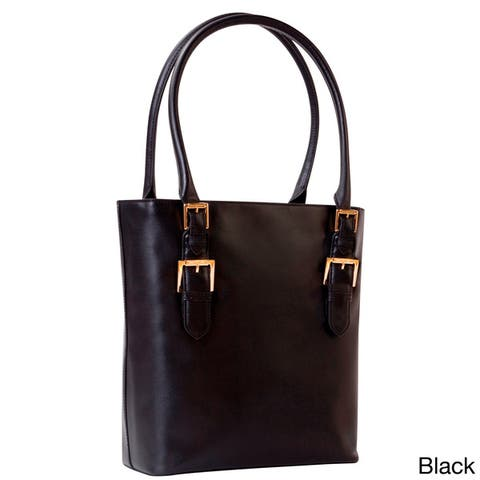 Isaac Mizrahi Emily Removable Camera and Tech Compartment Genuine Leather Tote Bag