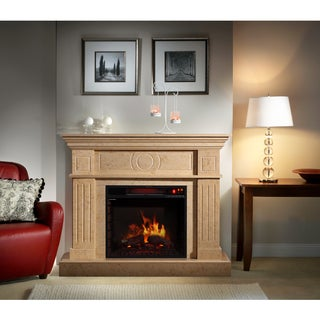 Corvus Electric Flame Travertine Mantel Fireplace with Multi-function Remote Control