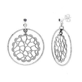 La Preciosa Black Plated Sterling Silver and Circle Earrings