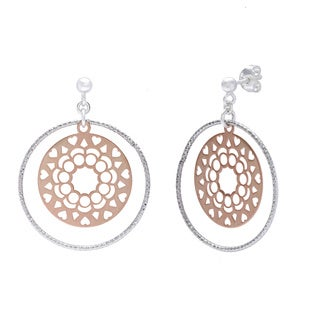 La Preciosa Rose Goldplated Sterling Silver and Circle Earrings