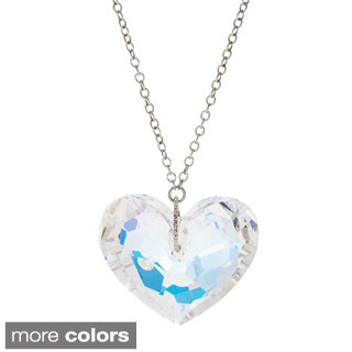 La Preciosa Sterling Silver Heart Made with Crystal Elements Necklace