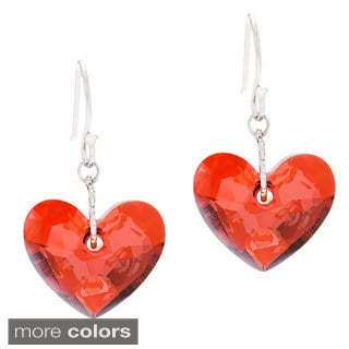 La Preciosa Sterling Silver with Austrian Crystal Elements Heart Earrings