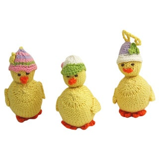 Set of 3 Hand-knit Alpaca Wool Baby Duck Ornaments (Peru)
