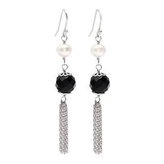 Kabella Pearl and Black Agate Tassle Earrings