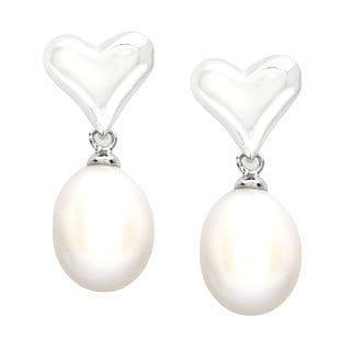 Kabella Pearl Heart Dangle Earrings