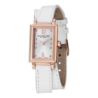Stuhrling Original Women's Paris Swiss Quartz Double Wrap Leather Strap Watch Set