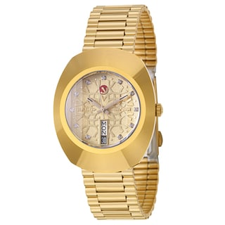 rado watches overstock com the best prices on designer mens rado men s original yellow goldplated hardmetal swiss mechanical automatic watch