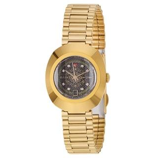 Rado Women's 'Original' Yellow Goldplated Hardmetal Black Dial Automatic Watch