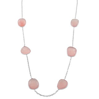 Fremada Sterling Silver Pink Chalcedony Station Necklace (18 inch)