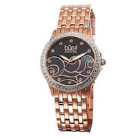 Burgi Women's Swiss Quartz Diamond Wave Dial Rose-Tone Bracelet Watch