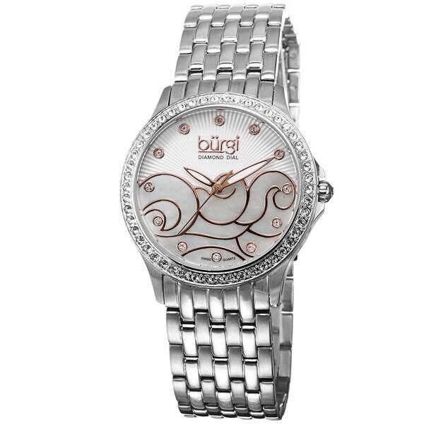 Burgi Women's Swiss Quartz Diamond Wave Dial Silver-Tone Bracelet Watch