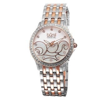 Burgi Women's Swiss Quartz Diamond Wave Dial Two-Tone Bracelet Watch