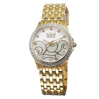 Burgi Women's Swiss Quartz Diamond Wave Dial Gold-Tone Bracelet Watch