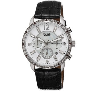 Burgi Women's Crystal Dial Chronograph Leather Black Strap Watch