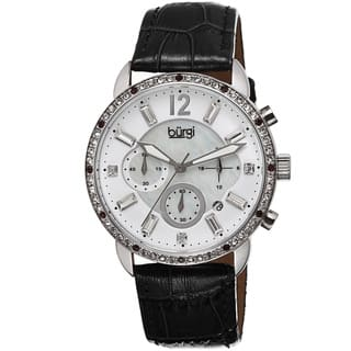 Burgi Women's Crystal Dial Chronograph Leather Black Strap Watch with FREE GIFT|https://ak1.ostkcdn.com/images/products/8786744/Burgi-Womens-Crystal-Dial-Chronograph-Genuine-Leather-Strap-Watch-P16025062.jpg?impolicy=medium
